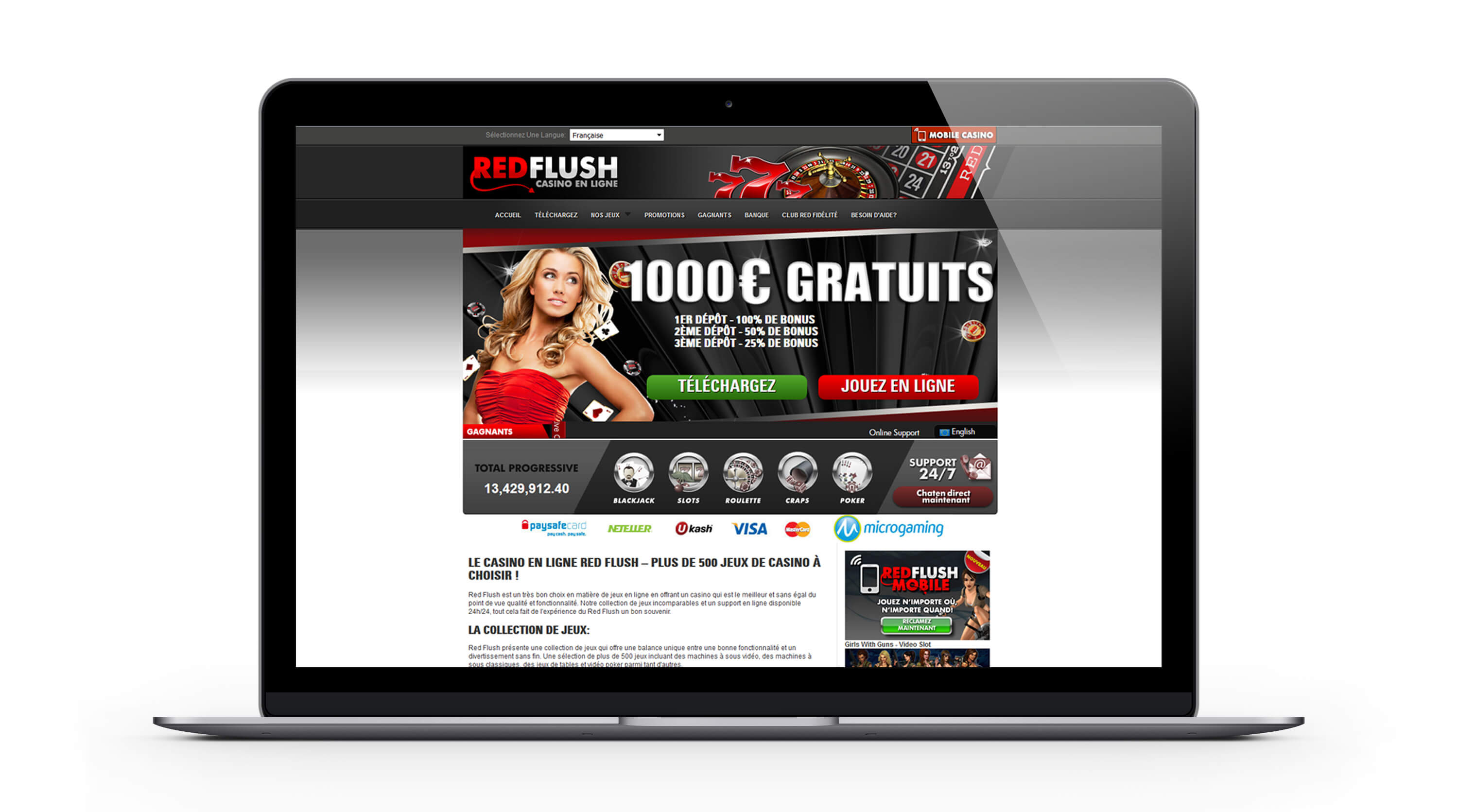 Red Flush casino : 1000€ Bonus Bienvenue