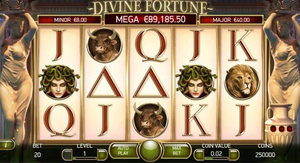 Fonctions et symboles sur la machine à sous Divine fortune